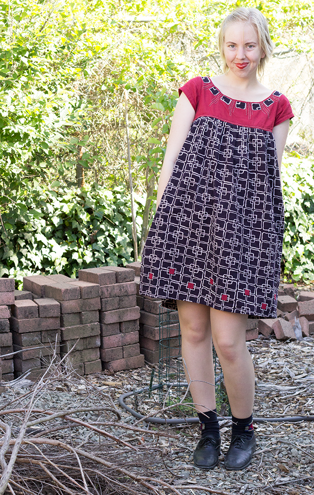 red, black, and off-white graphic print Mata Traders smock dress