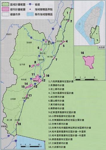 區域計畫內都市計畫位置示意圖(改作)。原始資料來源:臺東縣政府提供。