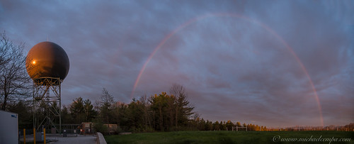 sky weather clouds sunrise rainbow pano maine may radome 2014 88d