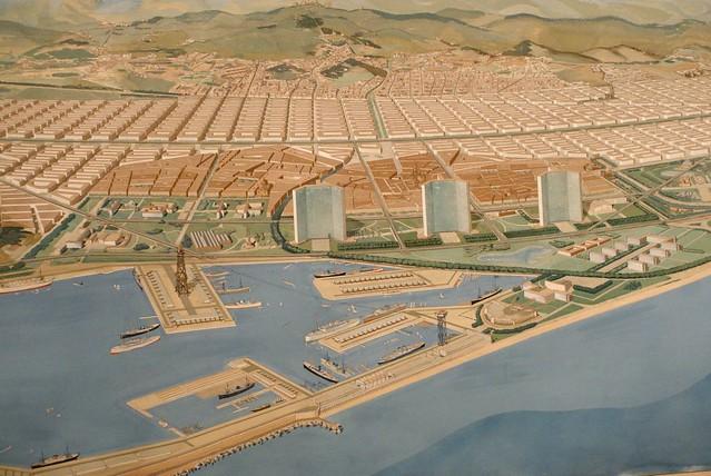 Transformation de la Vieille Ville de Barcelone en front de mer par Le Corbusier.