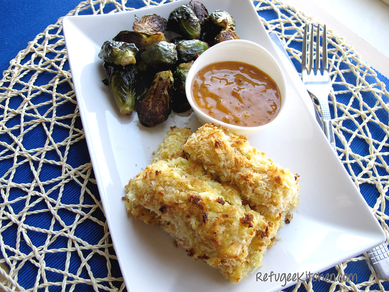 Baked Coconut Panko Fish Sticks w/ Spicy Mayo and Roasted Brussel Sprouts