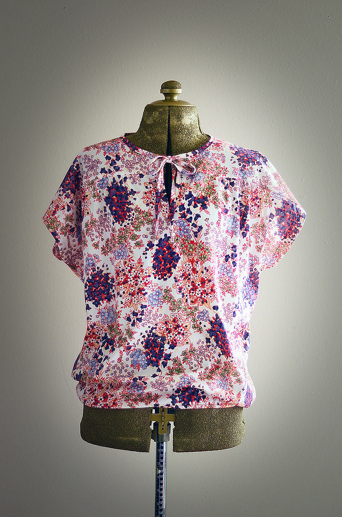 Vintage Floral Shirt with Butterfly Sleeves and Chest Tie, Size Large