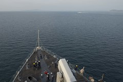 USS Ashland (LSD 48) prepares to anchor off Malaysia May 31 to offload Marines and Sailors taking part in  exercise Cooperation Afloat Readiness and Training there. (U.S. Navy/MCSN Raymond D. Diaz III)