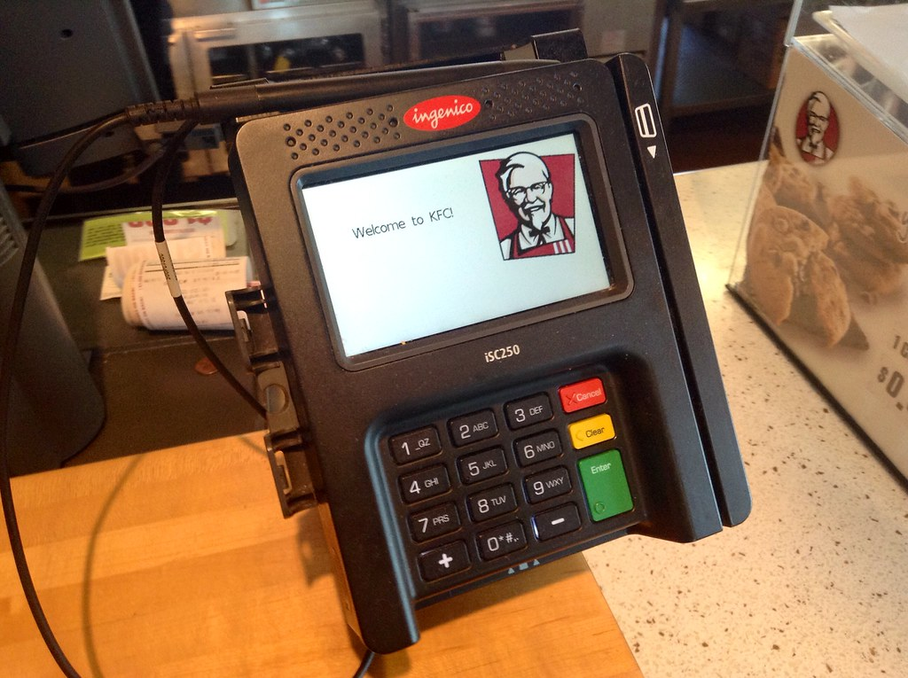KFC Kentucky Fried Chicken Credit Card Machine Electronic Reader Scanner Device Pics by Mike Mozart of TheToyChannel and JeepersMedia on YouTube. #KFC #KentuckyFriedChicken #KFCCreditCard #KFCCreditCardScanner #DebitCard #Payment #Electronic
