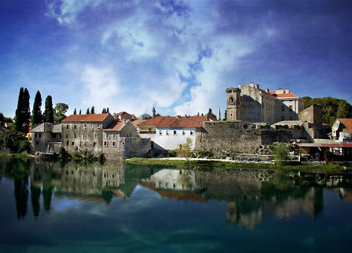 travel water clouds reflections rivers balkans textured bosniaherzegovina trebinje historictowns