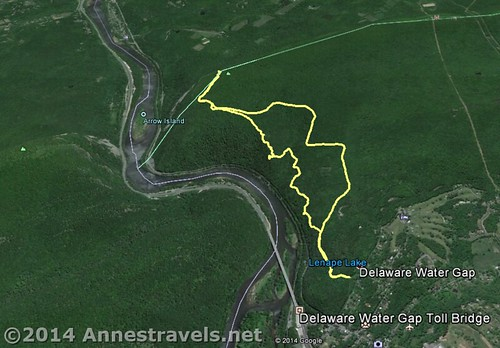 Visual map of the Mount Minsi Loop Trail, Delaware Water Gap National Recreation Area, Pennsylvania