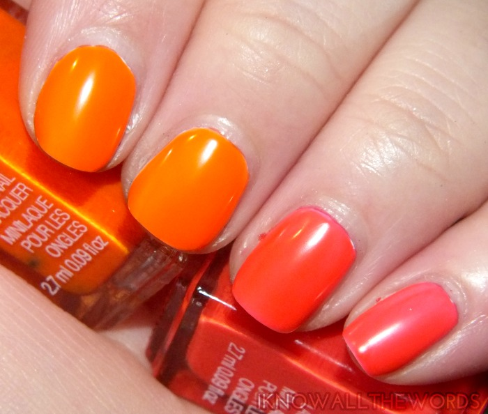 mark nail this look neons orange blast and pink spark