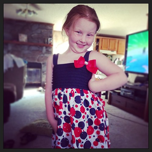 Look at this little diva modeling the dress I got her! <3