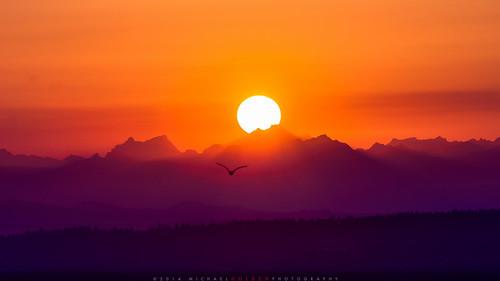 seattle red orange sun mountains sunrise purple cascades earlybird sjky