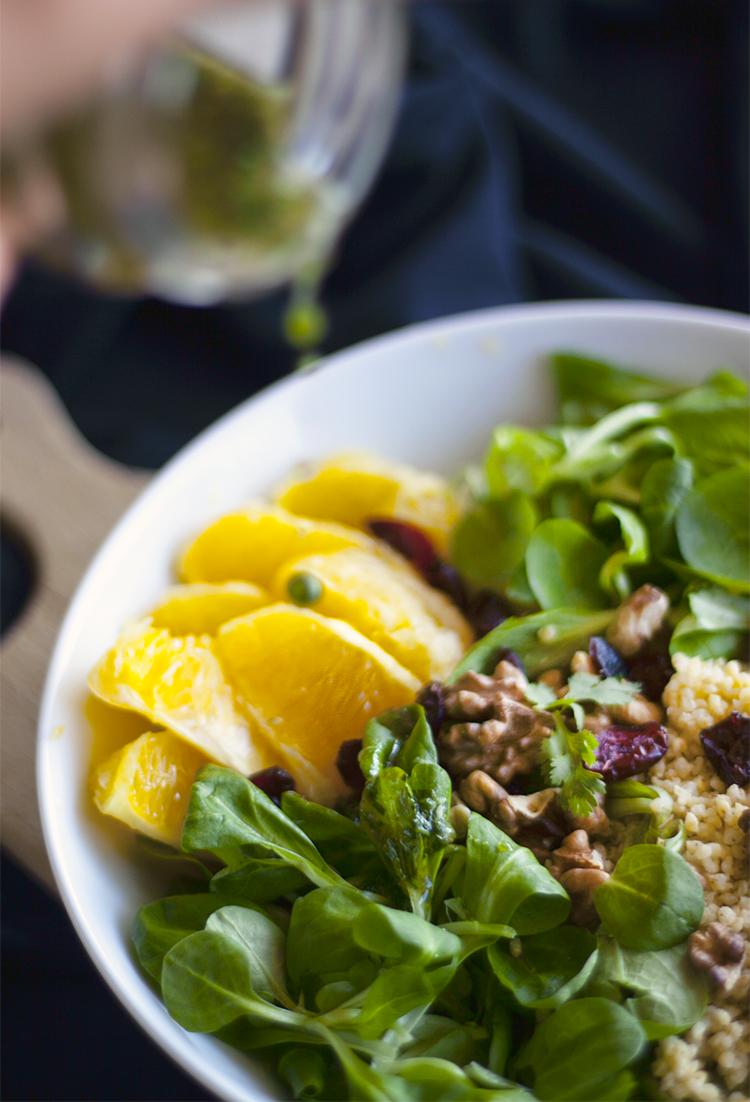 millet, orange and corriander salad + dressing 2