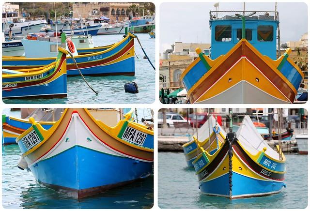 Malta luzzu boats in Marsaxlokk