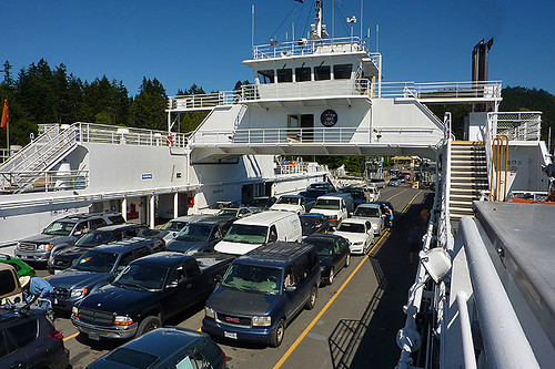BC Ferry loading at Fulford Harbour, Saltspring Island, Gulf Islands, Georgia Strait, British Columbia, Canada