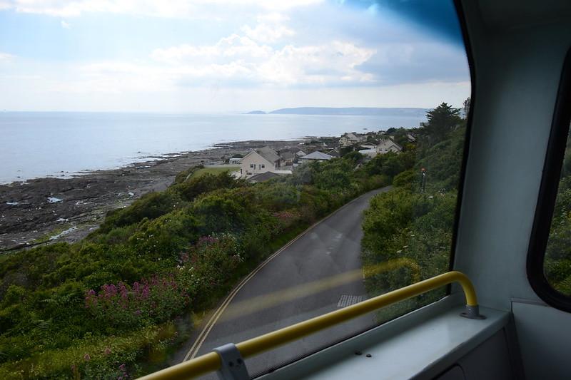 3. Rounding the hairpin bend above Downderry, with Looe and Looe Island in the distance