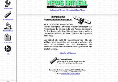 Erste Homepage von news aktuell 1996