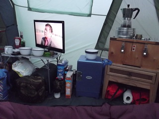 camp kitchen breakfast time looking a bit untidy,
