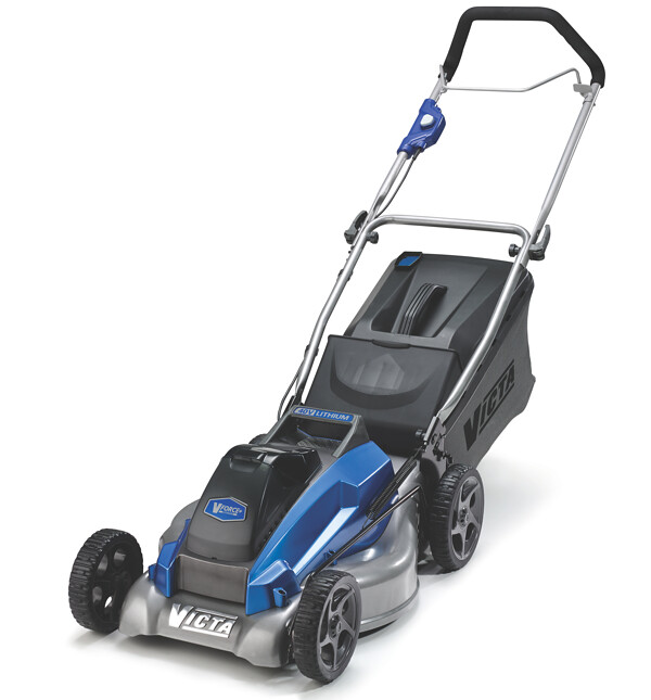 "The Victa 40V Lithium-ion cordless 18"" Steel Mulch or Catch lawn mower is new this season"