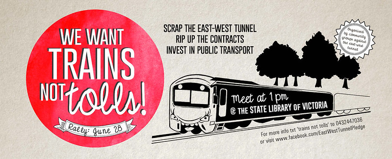Trains Not Tollroads rally flyer