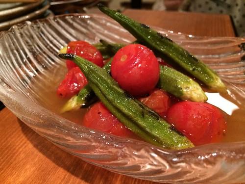 おくらとトマトの焼きびたし@かき殻荘