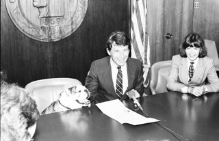 Mayor Royer with bulldog, 1985