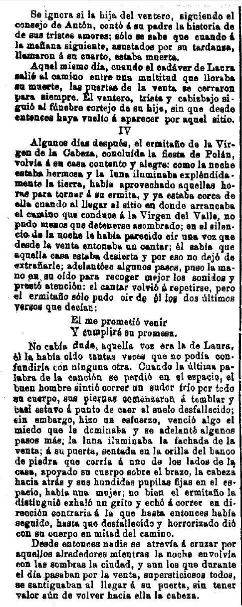 """""""La Venta del Alma"""", leyenda toledana publicada por Adrián García Age el 7 de septiembre de 1891 en """"El Correo Militar"""". (6)"""