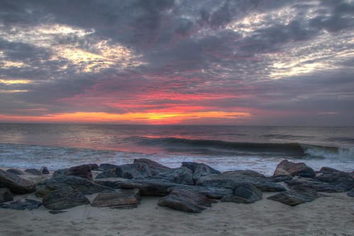 ocean summer sun beach water clouds sunrise dawn sand rocks surf waves cloudy jetty nj wave atlantic og jersey monmouth hdr 2014 monmouthbeach countynew