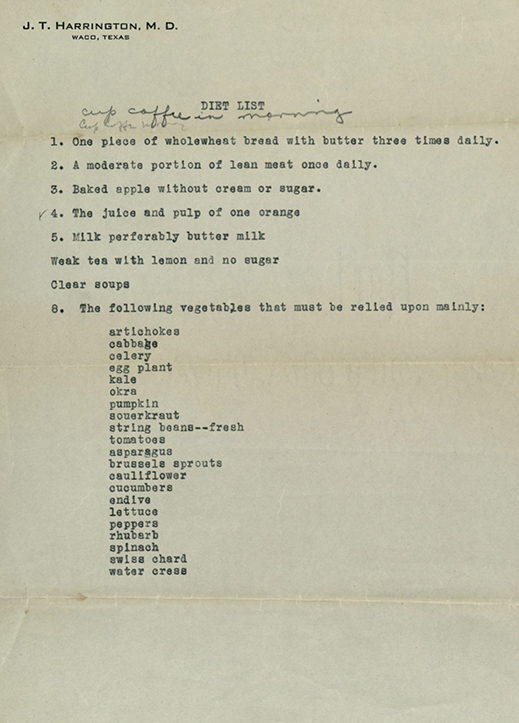 Prescribed diet from Dr. Harrington's Waco medical practice, undated