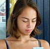 Girl with smart phone .