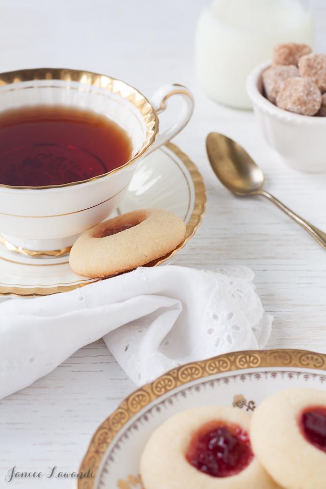 Jam thumbprint cookies and tea | Janice Lawandi @ kitchen heals soul