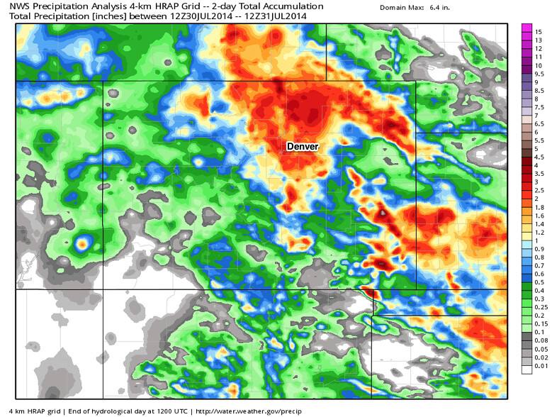 rainfall totals NWS analysis colorado July 30, 2014