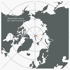 Drift trajectory near the North Pole