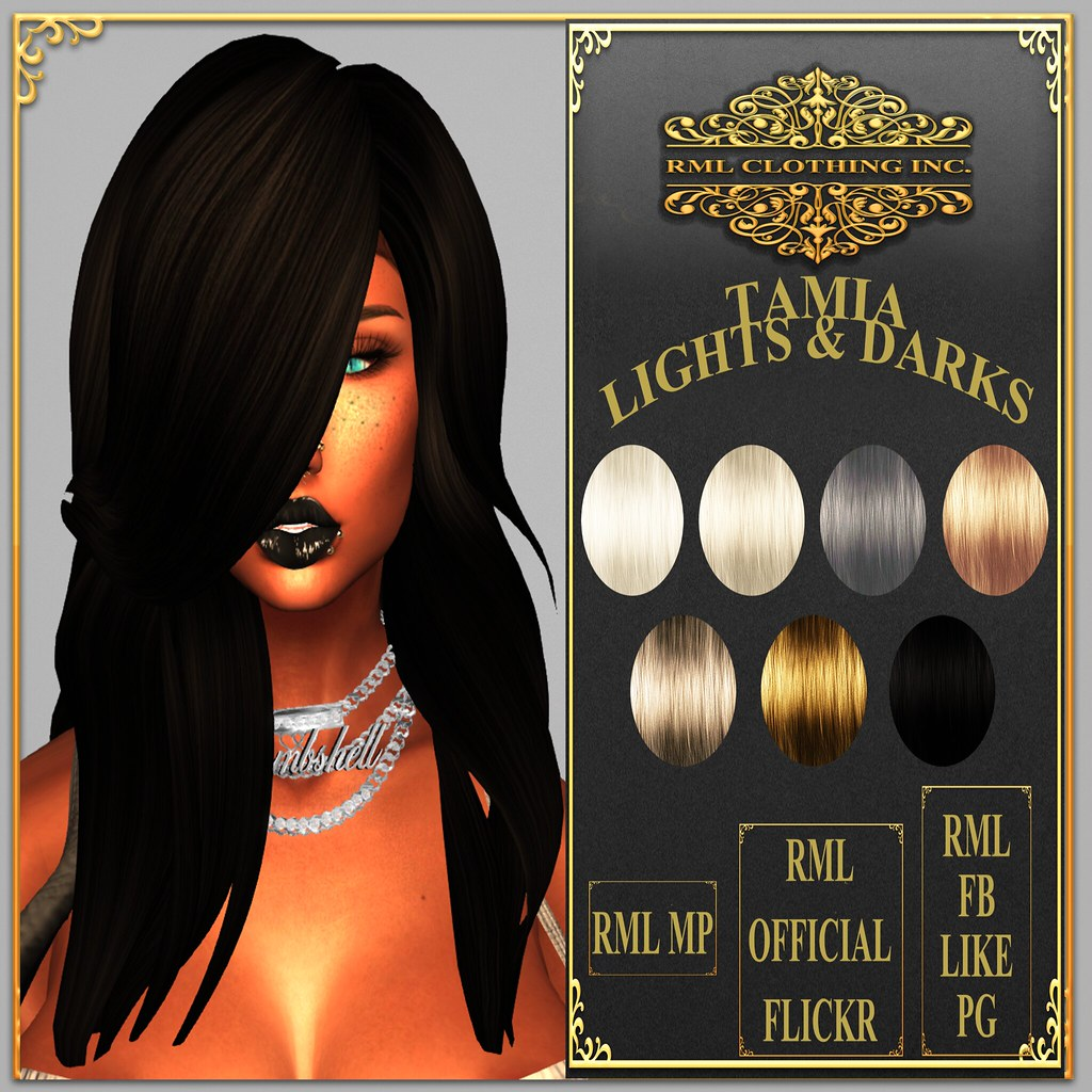 RML TAMIA HAIR (LIGHTS AND DARKS HUD) OFFICIAL AD - SecondLifeHub.com