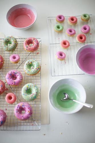 pastel rainbow glazed donuts recipe