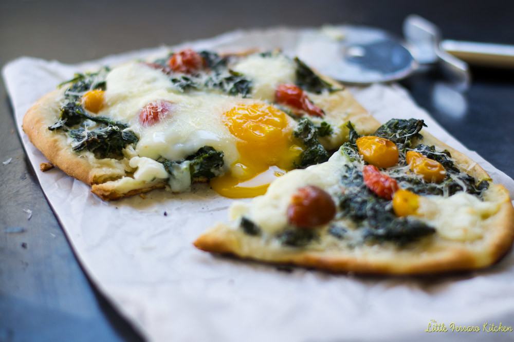 Kale and Egg Breakfast Pizza via LittleFerraroKitchen.com