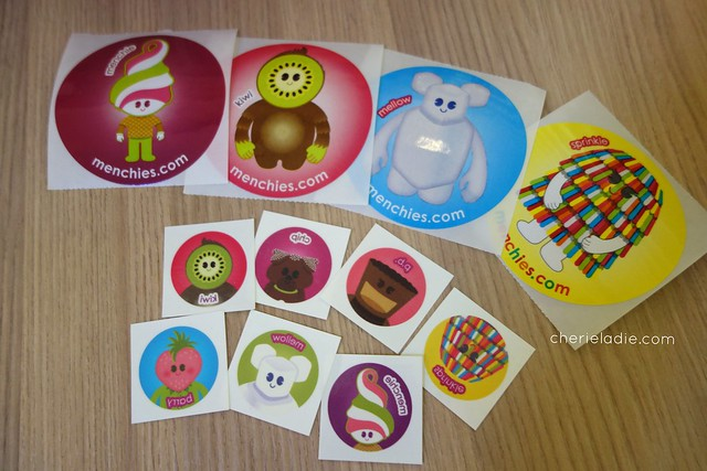 Menchie's mascots in stickers and temporary tattoos!