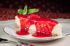 Sour Cream Cheese Cake with Strawberry Sauce