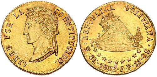 Bolivia 1852 PTS FB Gold 8 Escudos