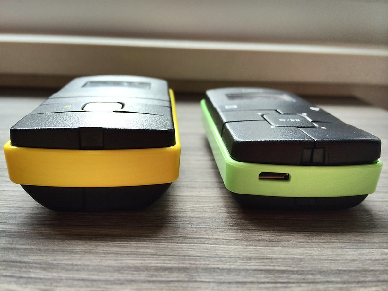 Old one use 2 x AAA battery, new old use internal charging battery. The new old is thinner.
