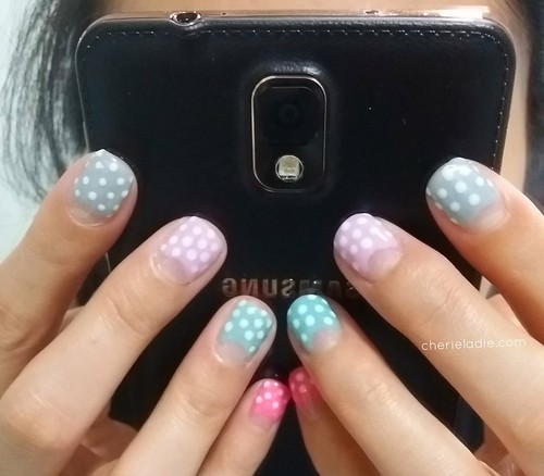 Pastel coloured manicure