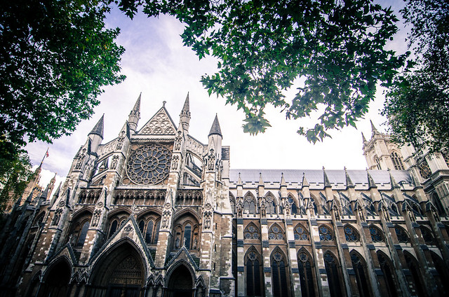 London's massive Gothic church, Westminster Abbey.