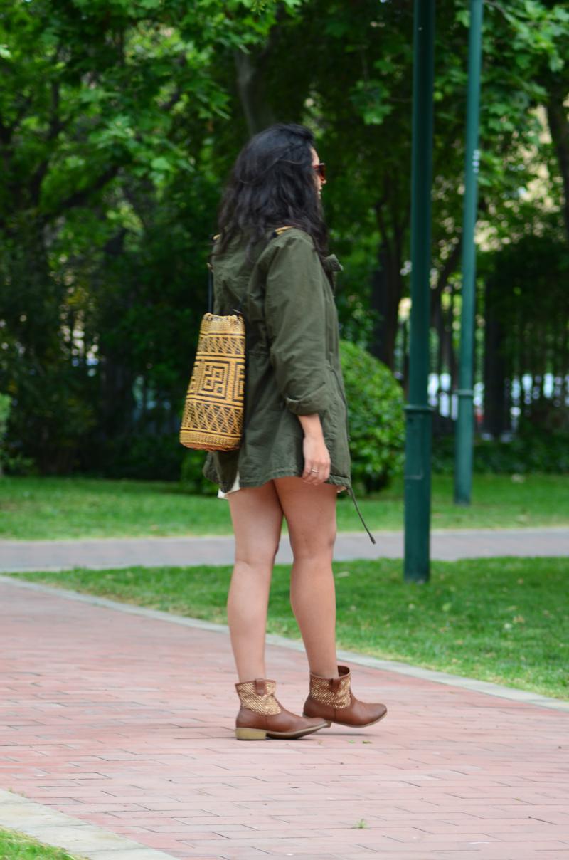florenciablog green parka zara stradivarius look beig bolso hippie mochila gandia fashion style (6)