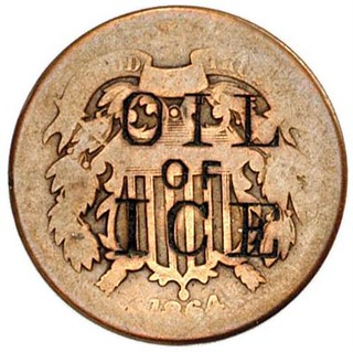 OIL of ICE on 1864 Two Cent Piece