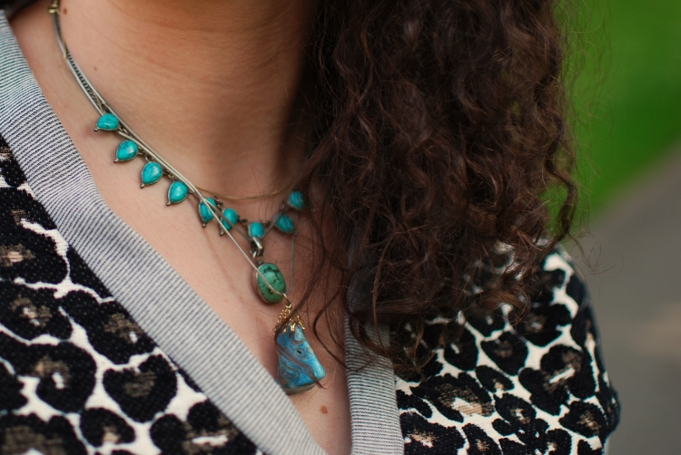 chambray and curls layered turquoise necklaces boho