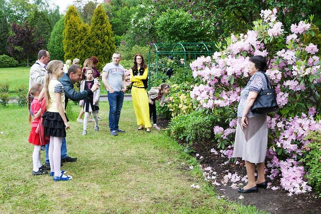 people in botanic garden. Lviv, Ukraine