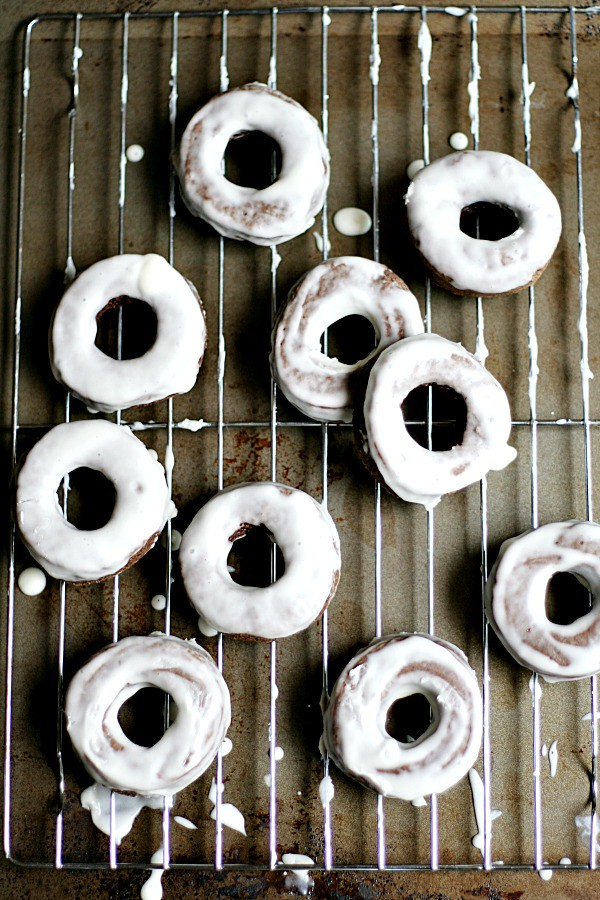 Glazed Chocolate Old Fashioned Doughnuts