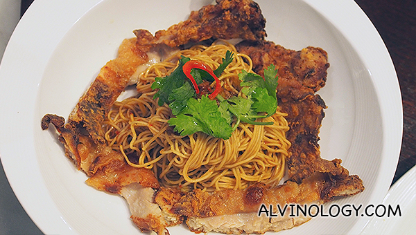 Prawn Flavoured Noodles (Har Zi Meen) in Indomie inspired dressing of kicap manis, onion and garlic (S$17.90), with crispy chicken