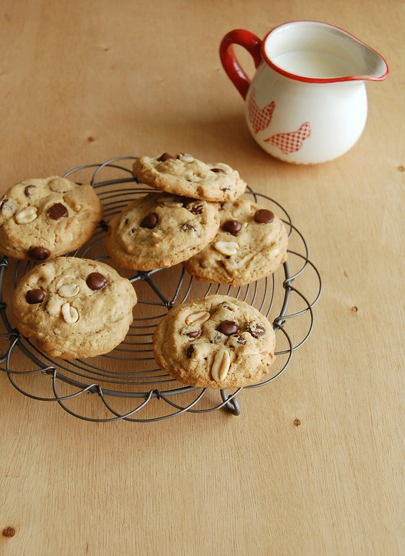 Chunky peanut, chocolate, and cinnamon cookies / Cookies de amendoim, chocolate e canela