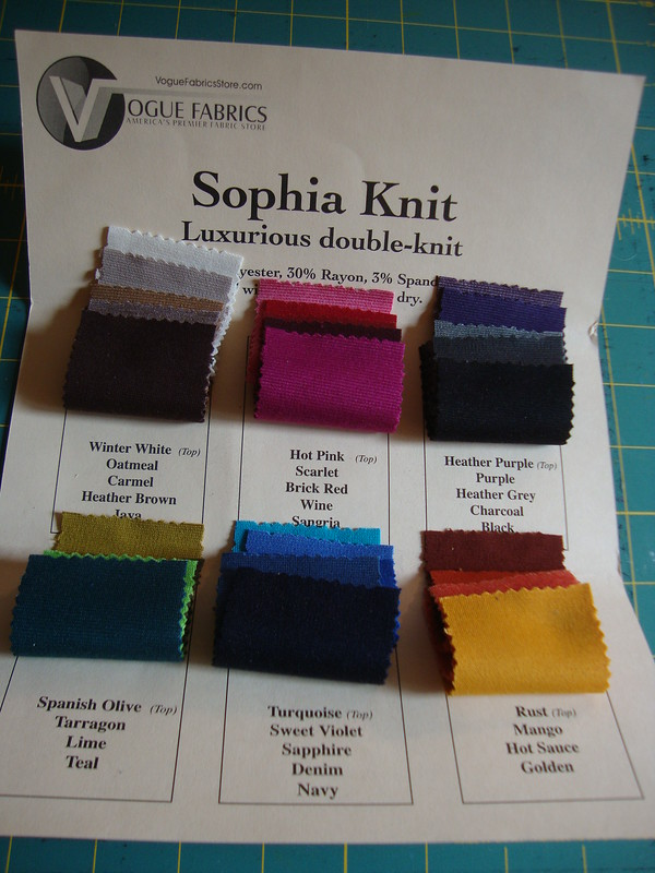 Vogue Fabrics Sophia Knit fabric swatch card