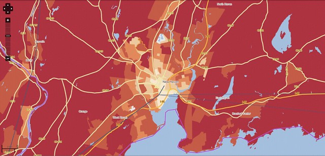 CO2 per household from driving, New Haven CT (courtesy of Center for Neighborhood Technology)