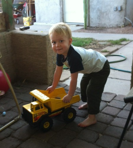 A boy and his dump truck. 27/28Jun14
