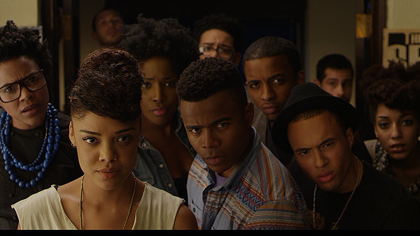 Tessa Thompson (bottom left) leads the satirical charge in DEAR WHITE PEOPLE.
